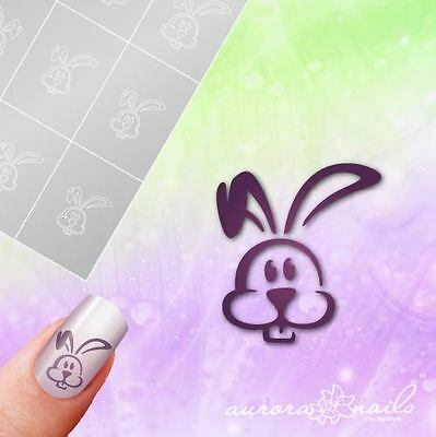 Schablonen Airbrush + Nailart O061 Frohe Ostern Hase Osterhase Easter klebend