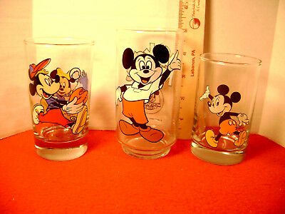 Disney  Lot of 3 Mickey Mouse Juice Glasses