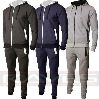 Mens Fleece Hooded Tracksuit Set Top and Jogging Bottom Slim Fit Gym Sports Suit