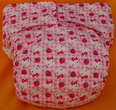 Adult New AIO Reusable Super Absorbent Cloth Diaper S,M,L,XL Hello Kitty Gingham