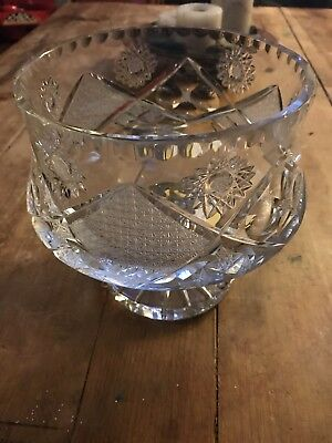 Massive Fine Quality Cut Leaded Crystal Compote Centerpiece-Mint & Impressive