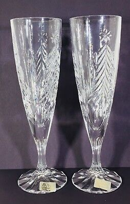Set Of 2 Vintage Crystal Mikasa Christmas Tree Champagne Flutes In Box