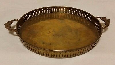 Vintage Round Solid Brass Serving Tray Ornate Floral Handle