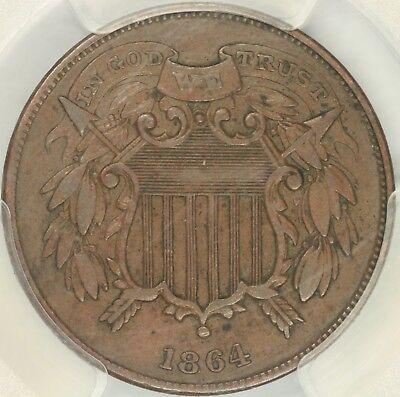 1864 Small Motto Two Cent PCGS XF45