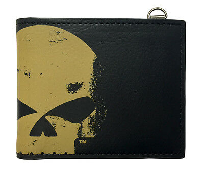 Harley-Davidson Mens Skull Chop Willie G Black Leather Bifold Wallet by LODIS