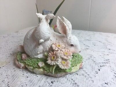 Greenbrier Resin Figurine White Easter Bunnies Playing And Tulips