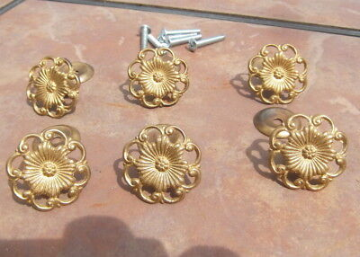 Set of 6 Solid Brass Filigree Drawer Pulls
