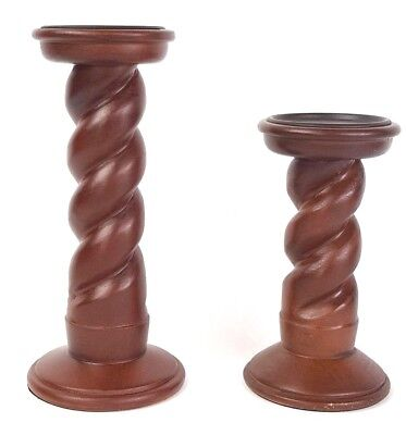 """Set of 2 Spiral Brown Wooden Pillar Candle Holders from Kohls NWT 11"""" & 8"""" Tall"""