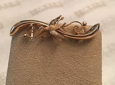 Nouveau 10k yg Swirl Bar Pin Textured Bird Seed Pearls & Faux Old Euro Diamond