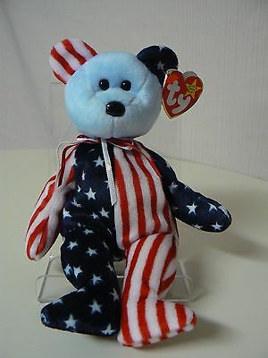 Ty Beanie Baby SPANGLE Plush Red White and Blue Bear with Blue Face Original