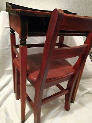 Farmhouse Red School Desk and Chair - vintage excellent condition