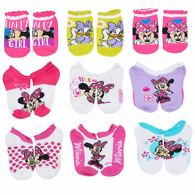 Disney Toddler Girls Minnie Mouse Ankle Socks Low Cut 2-4, 9-Pairs