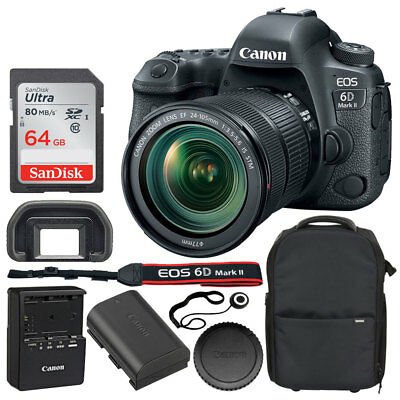 Canon EOS 6D Mark II Digital SLR Camera + 24-105mm STM Lens + 64 Card + Backpack