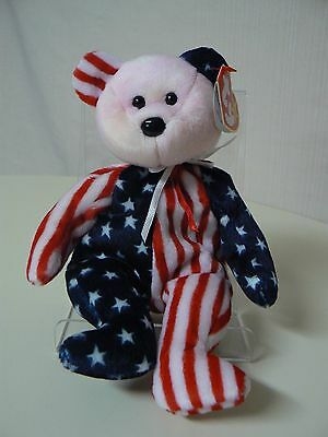 Ty Beanie Baby SPANGLE Plush Red White and Blue Bear with Red Face Original