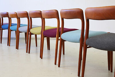 8 x 60er N.O MOLLER Mod 75 TEAK ESSZIMMERSTÜHLE DANISH 60s QUALITY DINING CHAIRS