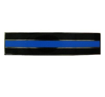 """Thin Blue Line Police Pin - Silver Outline 1 13/16""""W by 7/16""""T - NEW"""