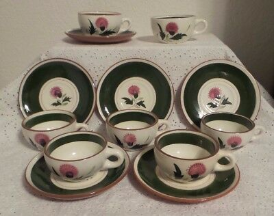 Stangl Pottery Thistle Pattern 13 piece Cup & Saucer Sets, Made in the USA