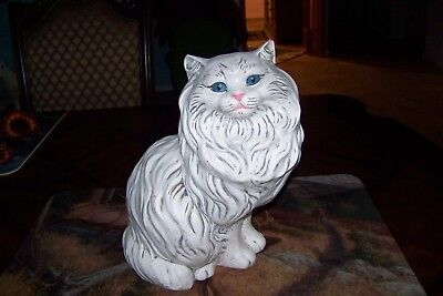 Vintage Persian Cat Large Ceramic Sitting Figurine With Blue Eyes & A Pink Nose