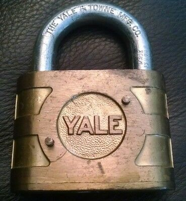 Vintage Antique Large Yale & Towne Super Pin Tumbler Brass Padlock - Lock