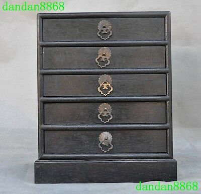 Old Chinese Rosewood wood inlay bronze Carved Five drawers Jewelry storage Box