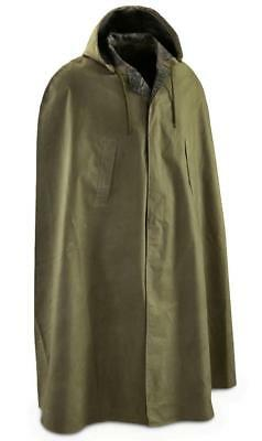 Military Surplus Item - Heavy Duty Rubber Coated Rain Cape - One Size / Green