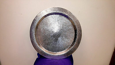 "Hammered aluminum 24 1/4"" round tray vintage very large"
