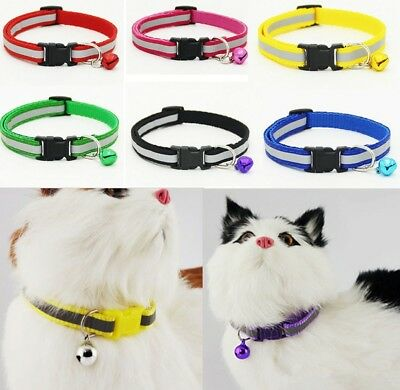 Adjustable Reflective Breakaway Nylon Cat Safety Collar w/Bell For Kitten Cat