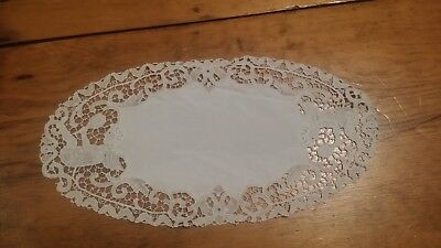 Vintage Off White Figural Cupid Lace Oval Fabric Doilie Free Shipping