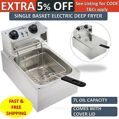 Electric Deep Fryer Commercial Single Basket Bench Top Stainless Steel Cooker