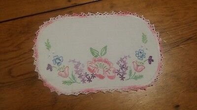 Vintage Hand Embroidery Pink Floral Fabric Doilie Free Shipping
