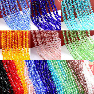 Wholesale Crystal Faceted Glass Beads Loose Spacer Rondelle Findings 4/6/8/10MM