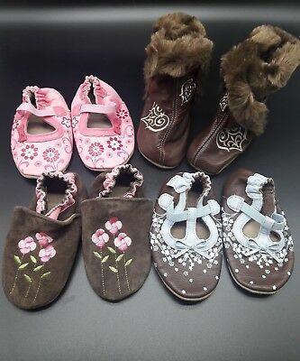 Lot of 4 Pair - Robeez lot boots Crib Shoes Infant Girl Size 18 24 Months NEW