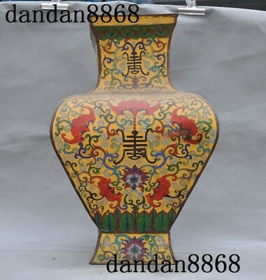Old Chinese bronze Cloisonne peony flower calligraphy Tanks Crock Pot Vase Jar