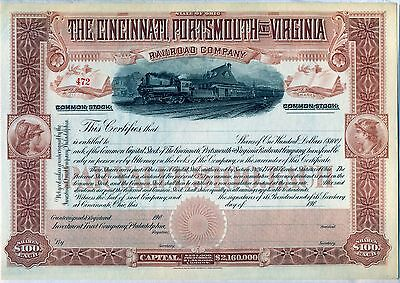 Cincinnati Portsmouth & Virginia Railroad Company Stock Certificate Ohio