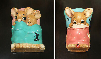"""2 Pendelfin Figures: """"Twins"""" and """"Wakey"""" Hand Painted Stonecraft England"""