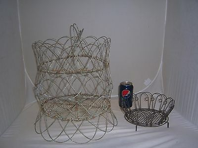 RARE 2 Primitive-Antique Vintage COLLAPSIBLE WIRE EGG BASKET French Country Farm