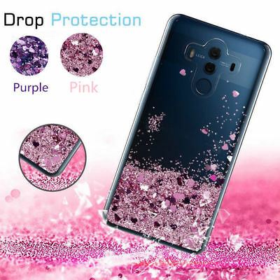 For Huawei P8 P9 Mate 10 Case Bling Moving Quicksand Liquid Clear TPU Soft Cover
