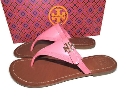 e8e63b99043ad3  195 Tory Burch Pink Leather Thongs Sandals Gold Logo Shoe Flip Flop 6.5  Shoes