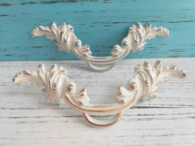 Shabby Chic Dresser Drawer Pulls Handles White Gold Silver Furniture Hardware
