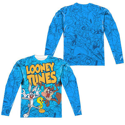 50b4d4f6 LOONEY TUNES COLLAGE Adult Men's Long Sleeve Sublimated Graphic Tee Shirt  SM-3XL