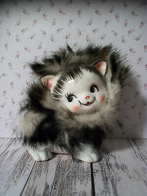 California Creations by Bradley - 50's/60's Porcelain Cat Figurine w/Feather Fur