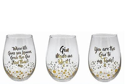 Mad Dots Gold Edition Gin Messages Stemless Glass Each Design Sold Individually