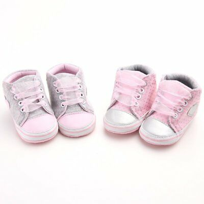 Baby Girl Crib Shoes Sneakers Soft Sole Shoes Lace up Shoes Non Slip Gray Pink