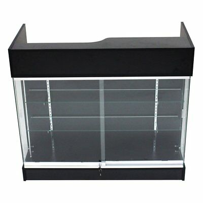 Ledgetop POS Sales Retail Display 4' Glass Showcase Counter Black Knockdown New