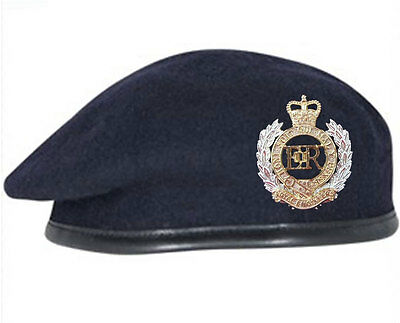 Navy Blue Royal Engineers Beret and Official Issue Cap Badge SIZES 52 - 62cm
