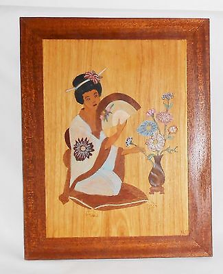 Geisha Inlaid Wood Art Painted Asian Japanese Vintage Wall Hanging Hand Crafted