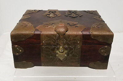 Antique Chinese Hongmu Rosewood Jewelry Box Brass BIndings Mahogany