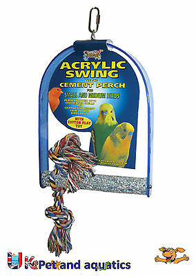 Bird Swing Medium, Acrylic With Cement Perch, Budgies, Canaries, Finches Etc