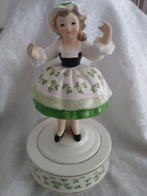 "1984 Schmid Musical Irish Girl Music Box ~ ""When Irish Eyes are Smiling"""