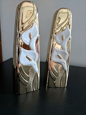 -Set of two Vintage Japanese Brass Gold Plated Bud Vases With Calla Lillies